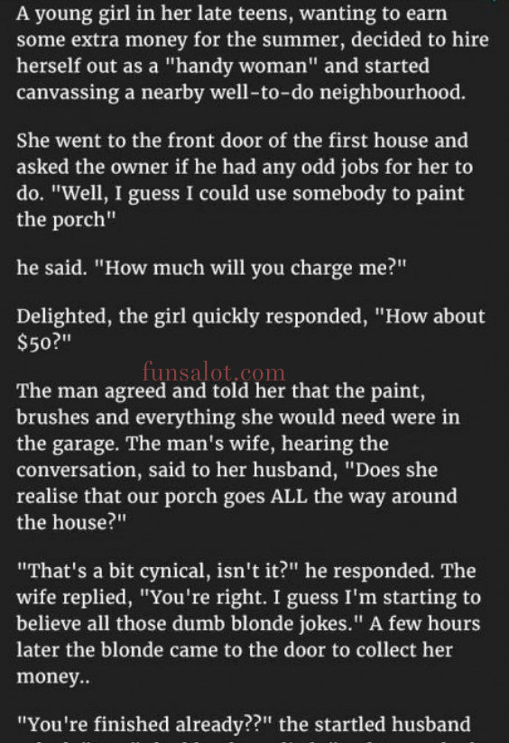 Blonde Asks Couple For An Odd Job Around Their House But